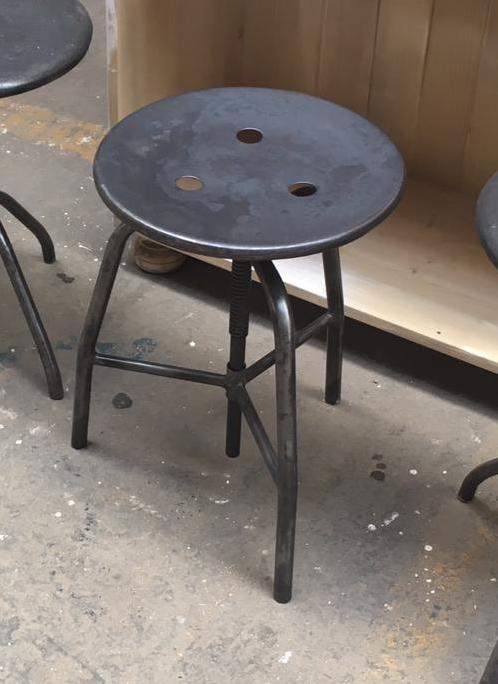 Vintage industrial Dutch hospital stool udjustable highet  #2585