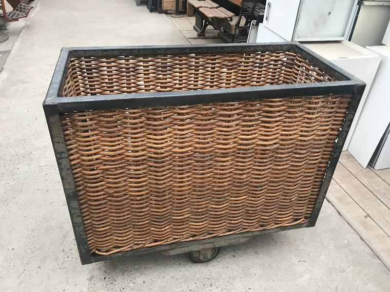 Vintage industrial French metal wicker bakers trolleys  #B2595 (2) Byron