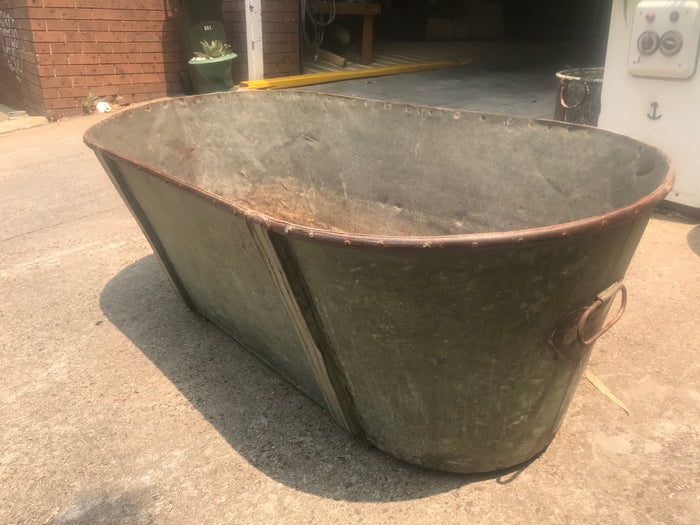 Vintage industrial French galvanized bath tub #2607/2 green