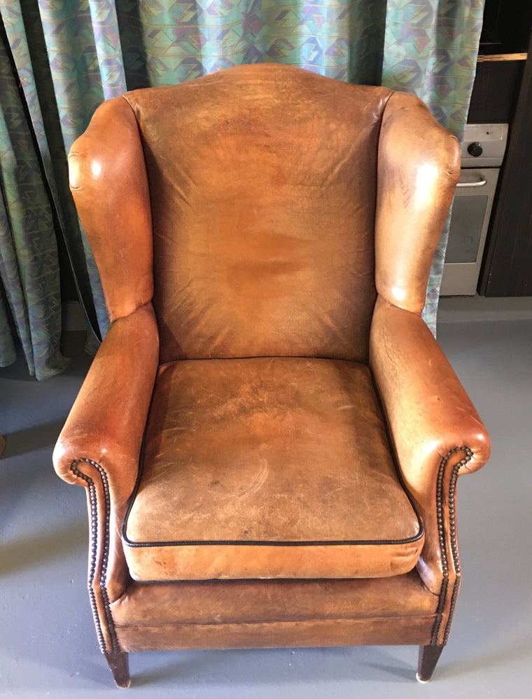 Vintage  French 1940s leather lounge chair #2625 Byron Light
