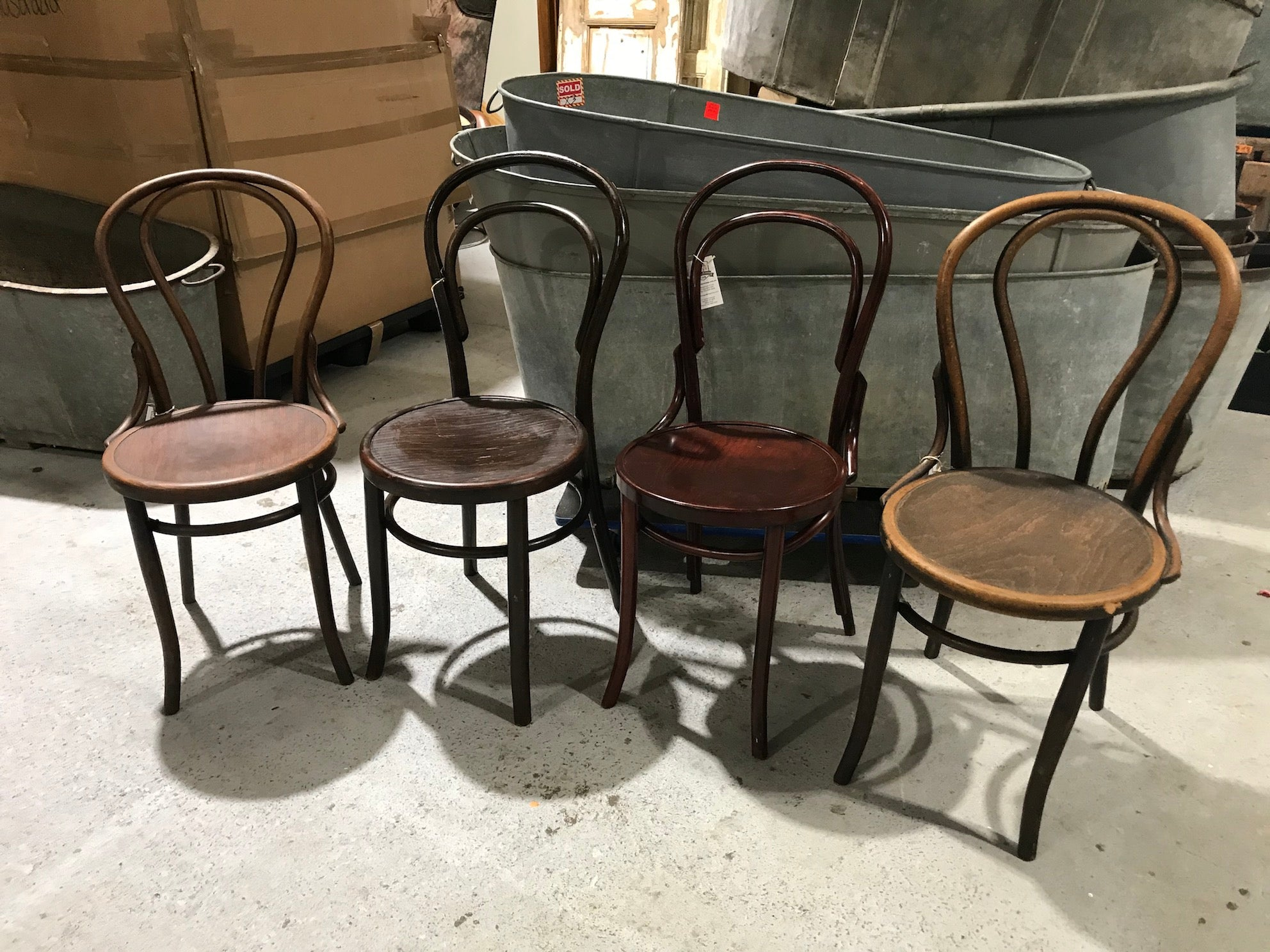 Vintage industrial Czech 1930s Thonet chair  x 4 # 2634 selling  as a set