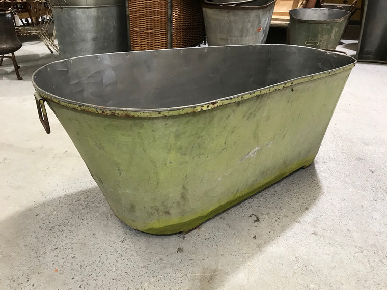 Vintage 1940s French galvanized bath tub #2640 green