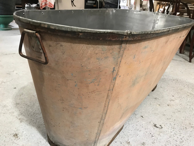 Vintage 1940s French galvanized bath tub 2641 pink