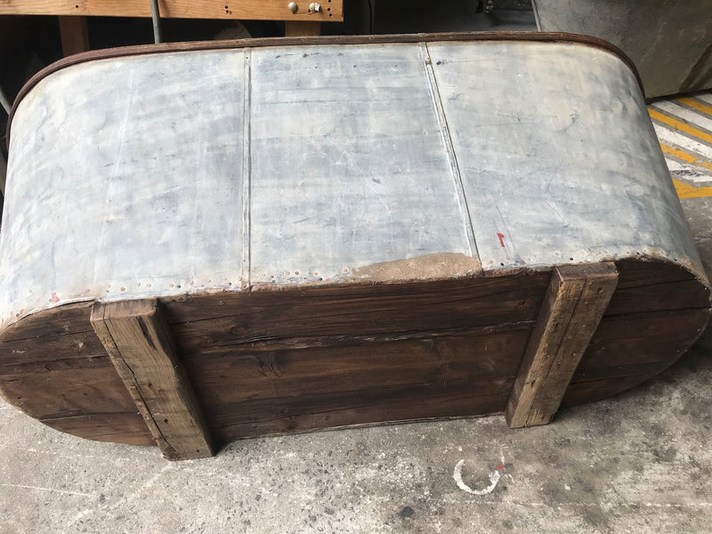 Vintage 1940s French galvanized bath tub #2646