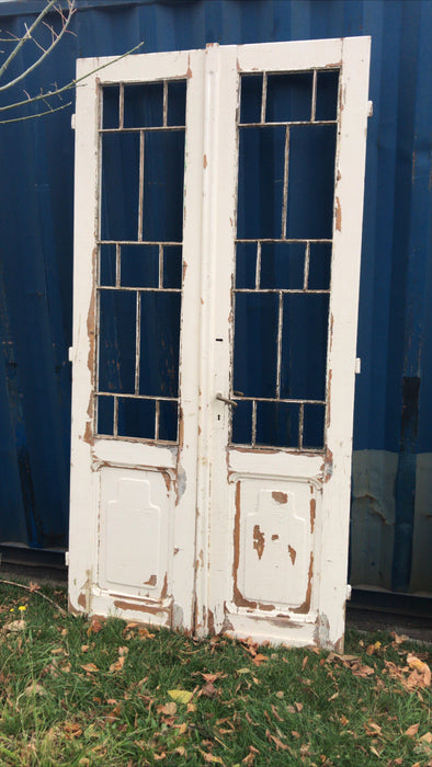 Vintage French wooden double house doors #2660 white