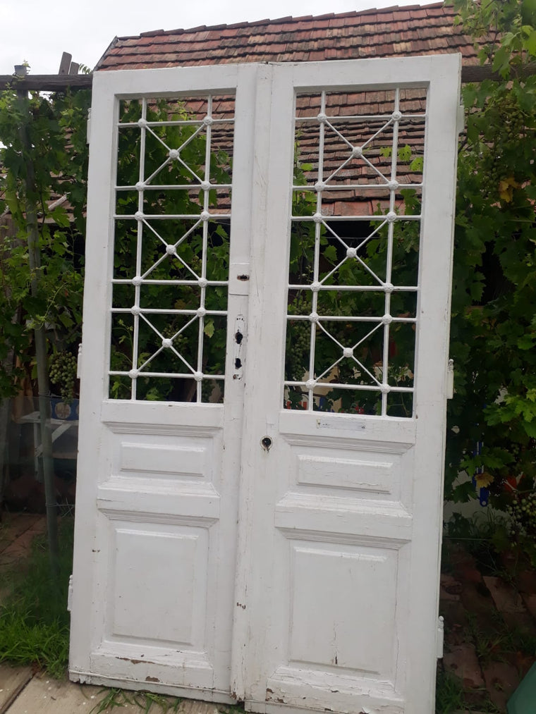 Vintage French wooden double house doors #2661 wht April container
