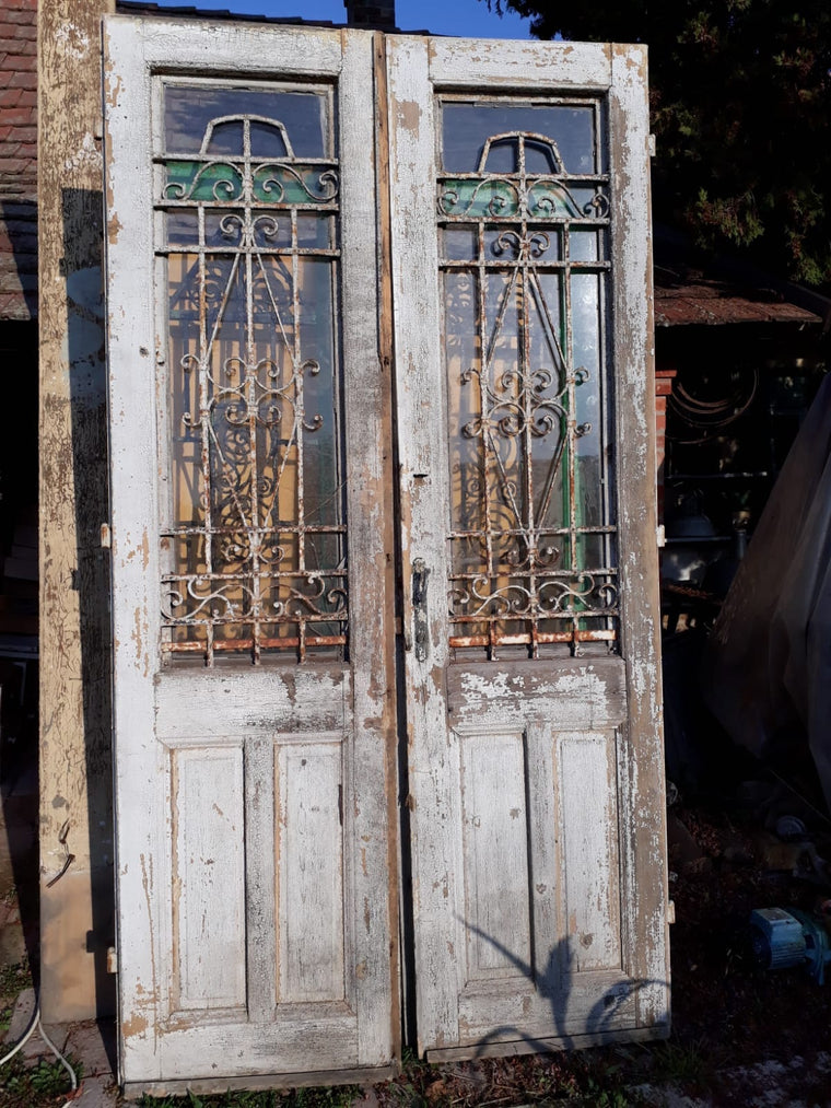 Vintage French wooden double house doors #2663 wht April container