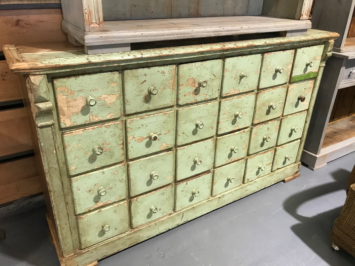 Vintage industrial French 40s wooden bank of drawers #2678 24 drawers