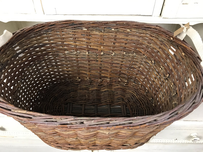 Vintage industrial French bakers baskets cane willow #1304