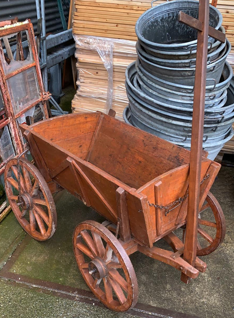 Copy of Vintage European wooden pumpkin cart #2706 April container (red)