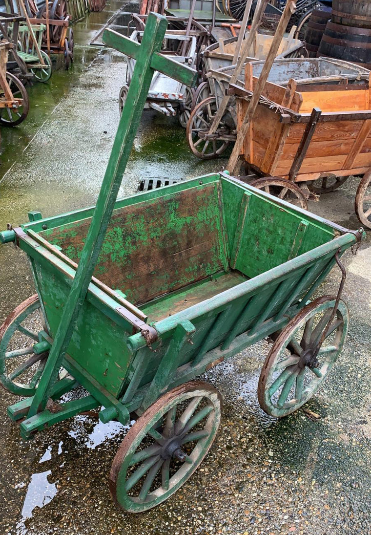 Vintage European wooden pumpkin cart #2707 April container (green)