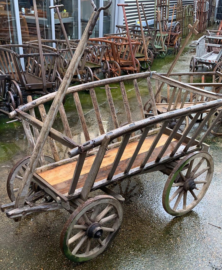 Vintage European wooden pumpkin cart #2709 April container