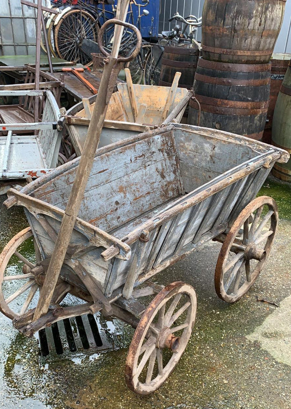 Vintage European wooden pumpkin cart #2710