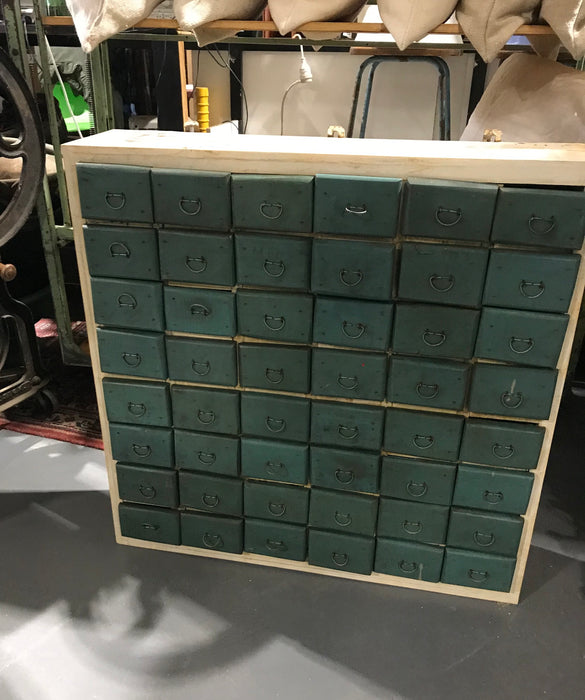 Vintage industrial French 40s wooden bank of drawers #2741 48 drawers