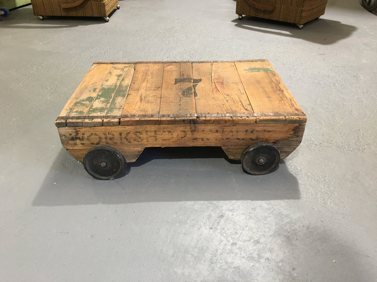 Vintage industrial European rail cart COFFEE table  #2774