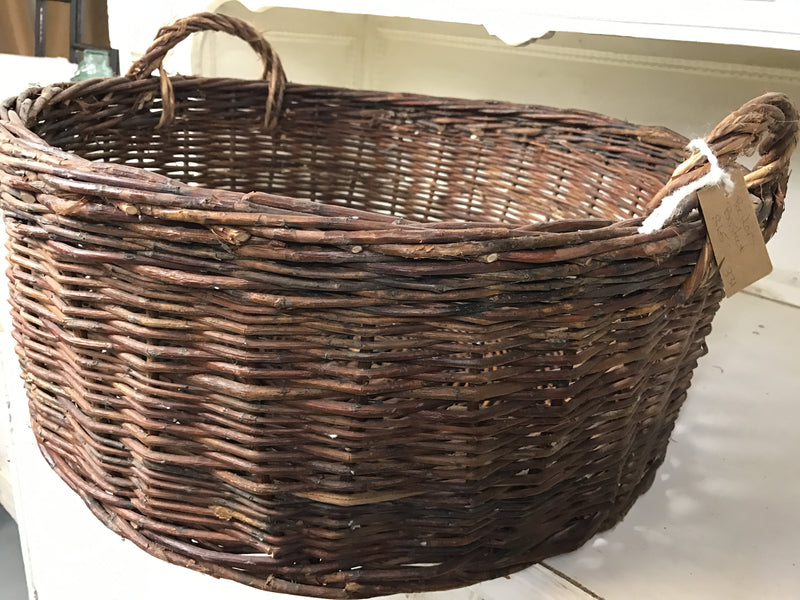 Vintage industrial French bakers baskets cane willow #1471