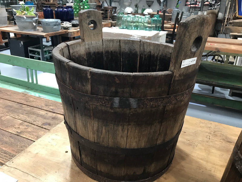 Vintage industrial French oak round wine barrel #1984/2