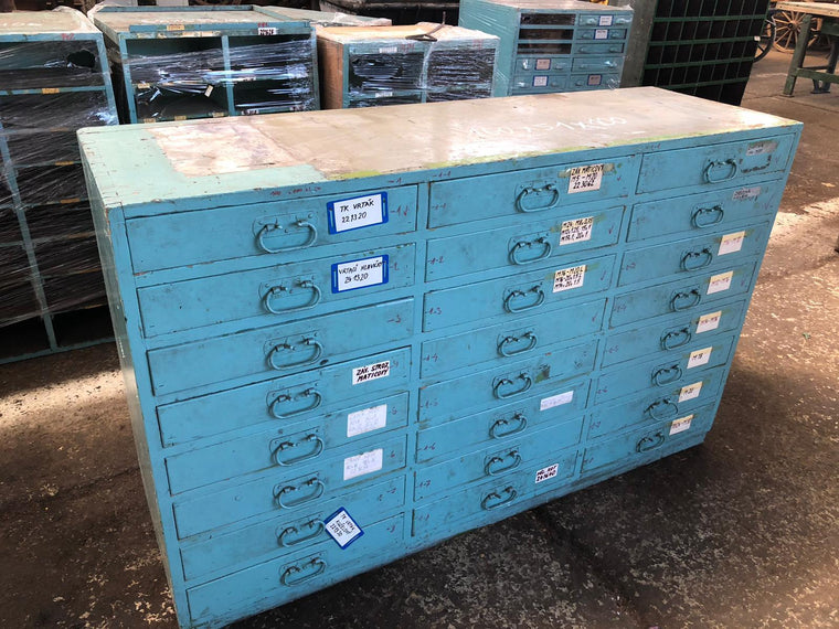 Vintage industrial European 40s wooden bank of drawers (med) #3041 October container