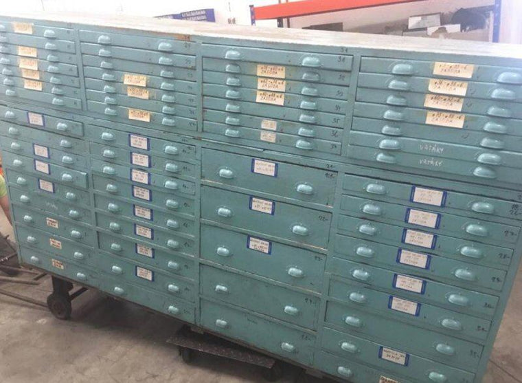 Vintage industrial European 40s wooden bank of drawers (Large) #3042 October container