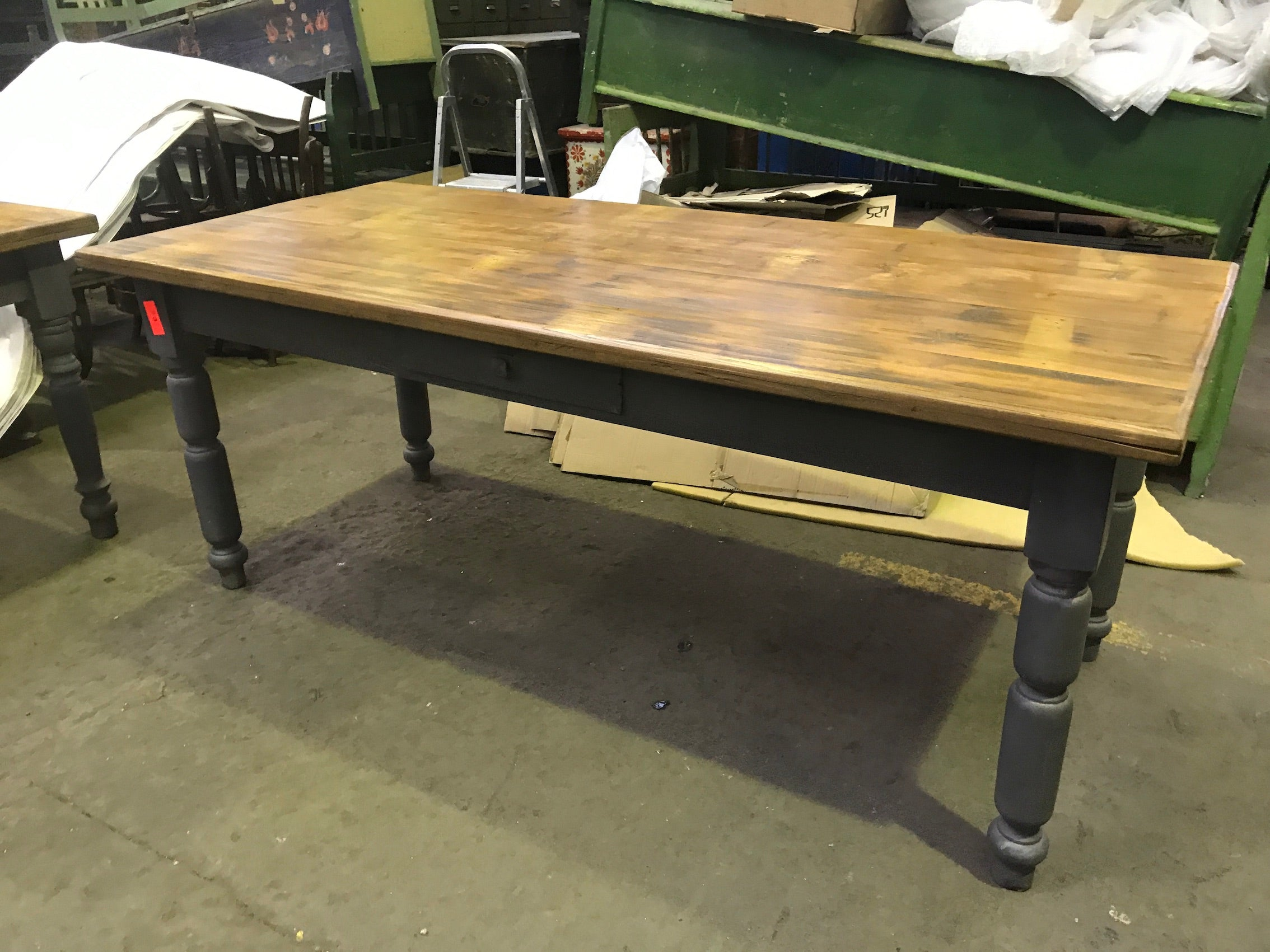 Vintage industrial European FARM kitchen dining table #2265 2mt
