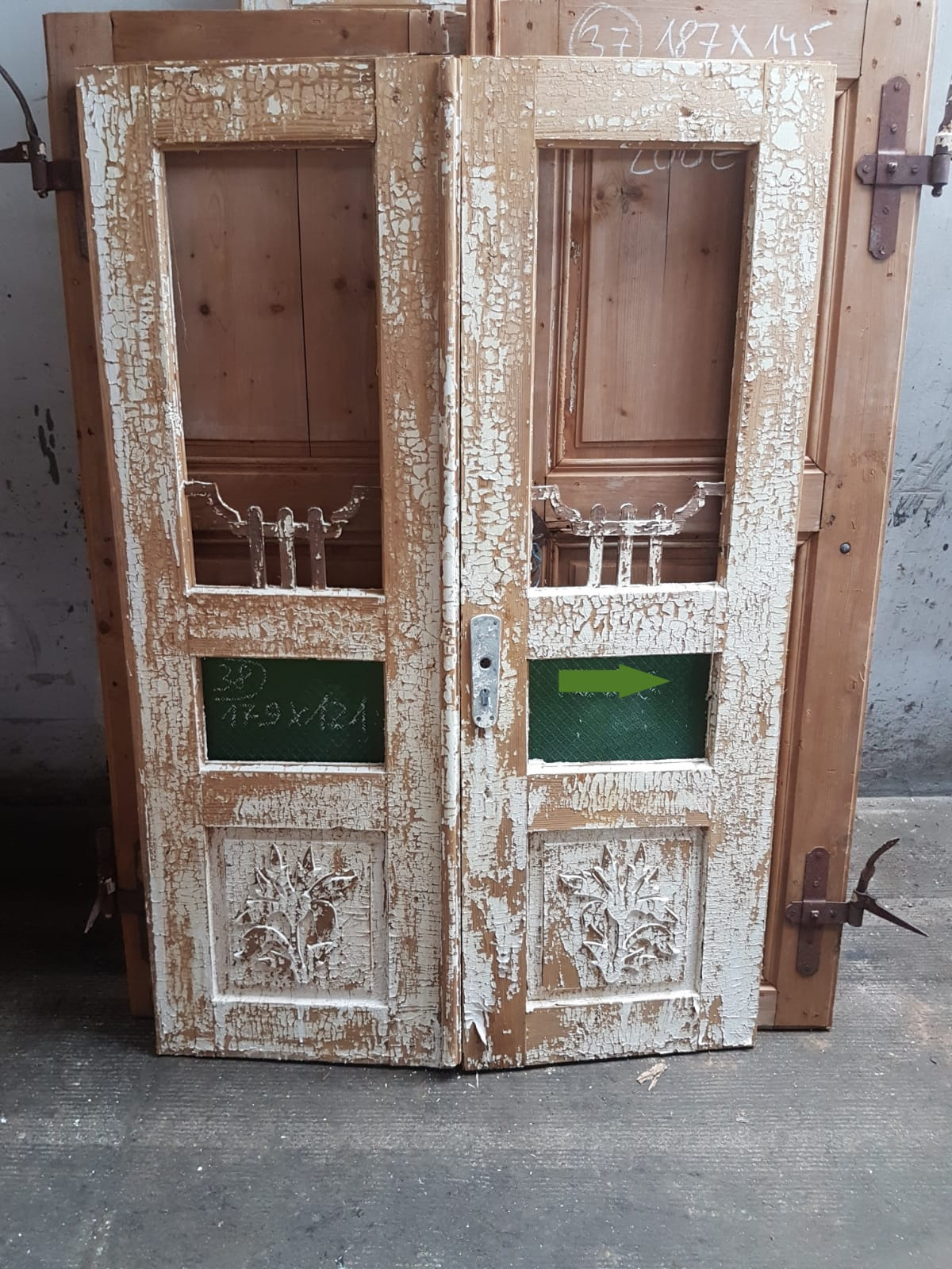 Vintage French wooden house door #2565/38