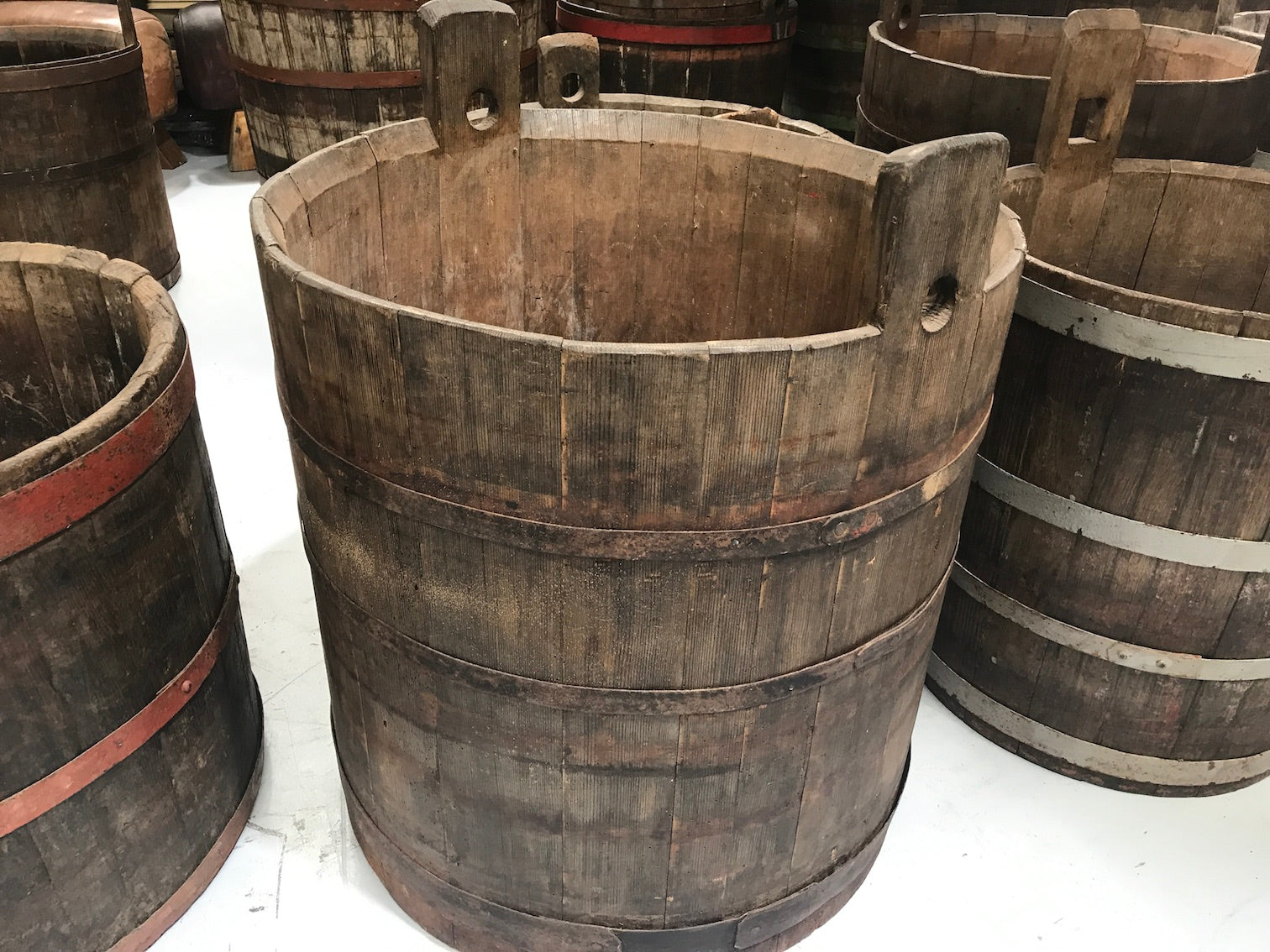 Vintage industrial French oak round wine barrel #1986/4