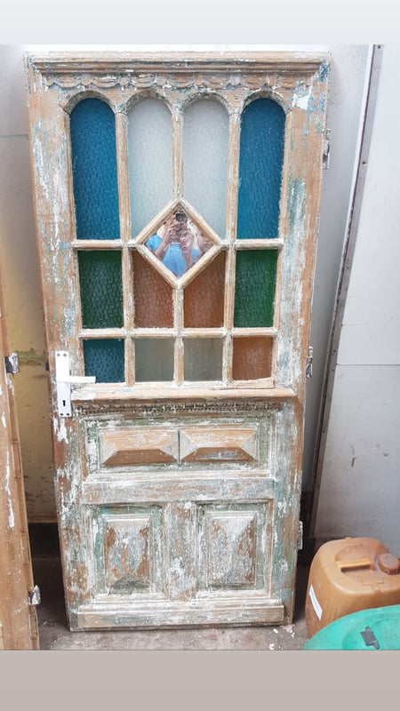 Vintage French wooden house door #2565/41 in byron