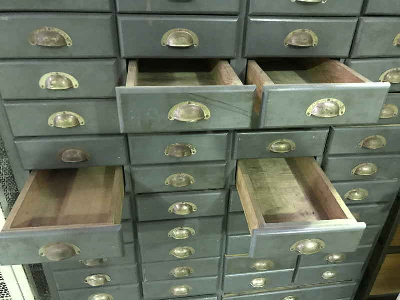 Vintage industrial Dutch bank of drawers cabinet #1600