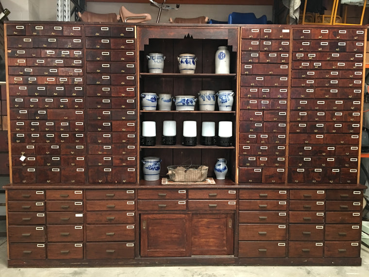 Vintage industrial French 1940s bank of 187 drawers #1198
