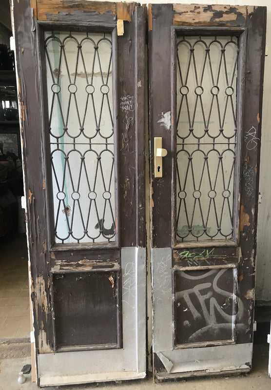 Vintage French wooden house door #2565/45