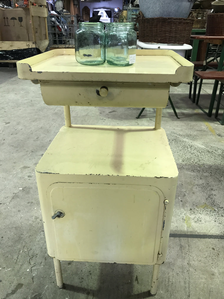 Vintage industrial German hospital bedside table #696