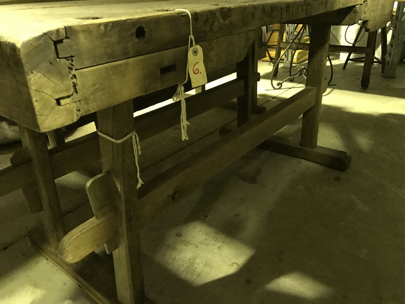Vintage industrial Hungarian carpenters workbench 1920s #1651
