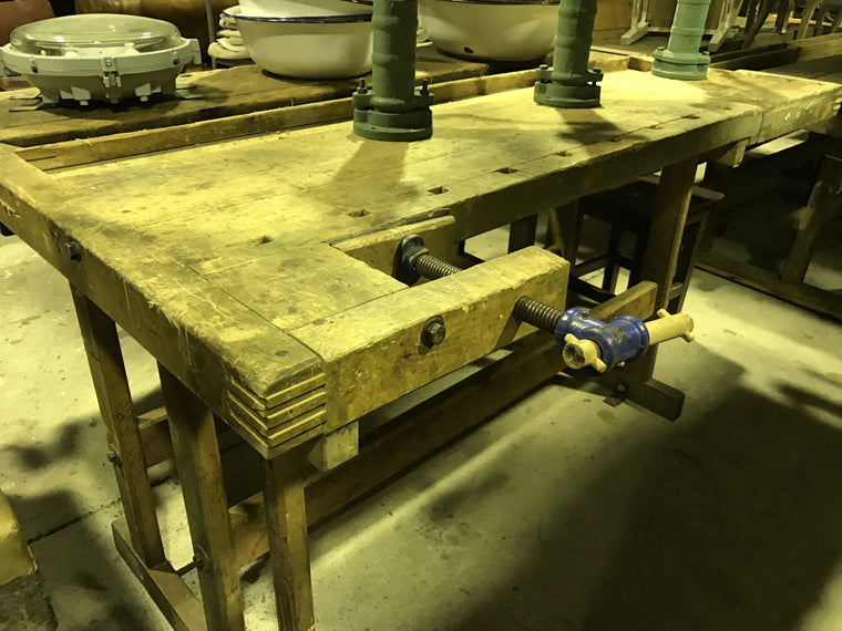 Vintage industrial French carpenters workbench #1632