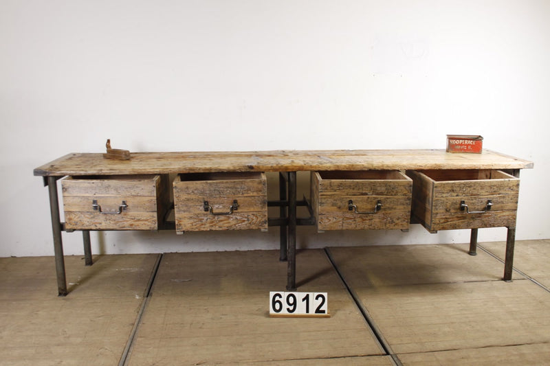 Vintage industrial European workbench table counter Kitchen island  #2190