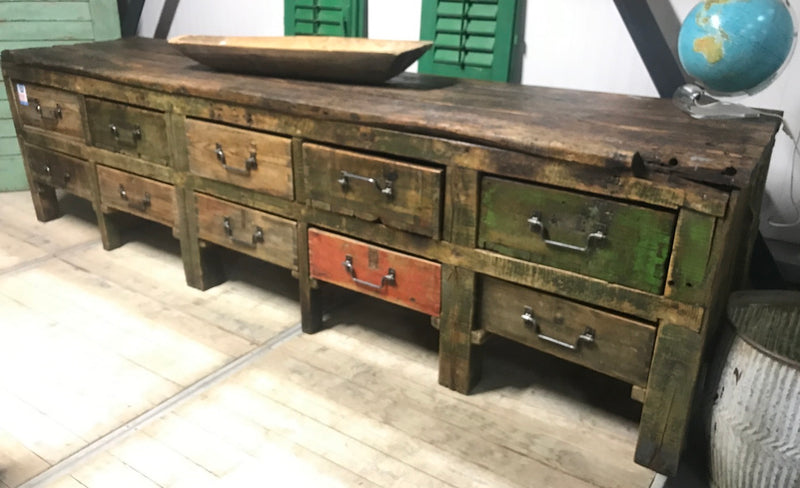 Vintage industrial European workbench table counter Kitchen island  #2192/ 6934  Byron Warehouse
