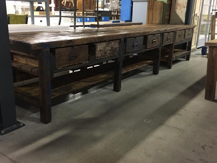 Vintage industrial European workbench table counter Kitchen island 5 meter #2187
