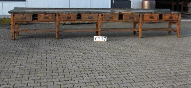 Vintage industrial European workbench table counter Kitchen island 5.3 meter #2188/ 7117