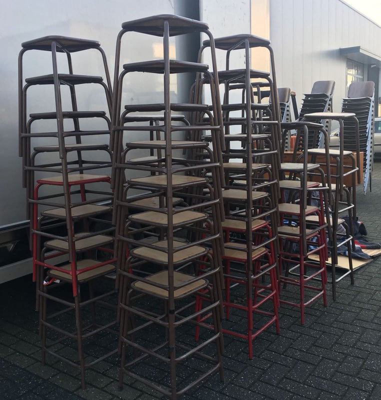 Vintage industrial French  stools #2204