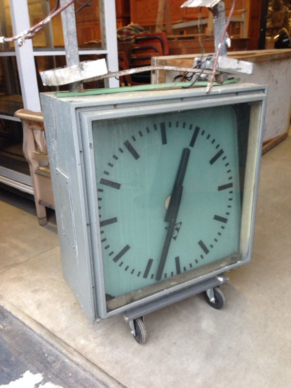 Vintage industrial Czech train double sided station clock #886