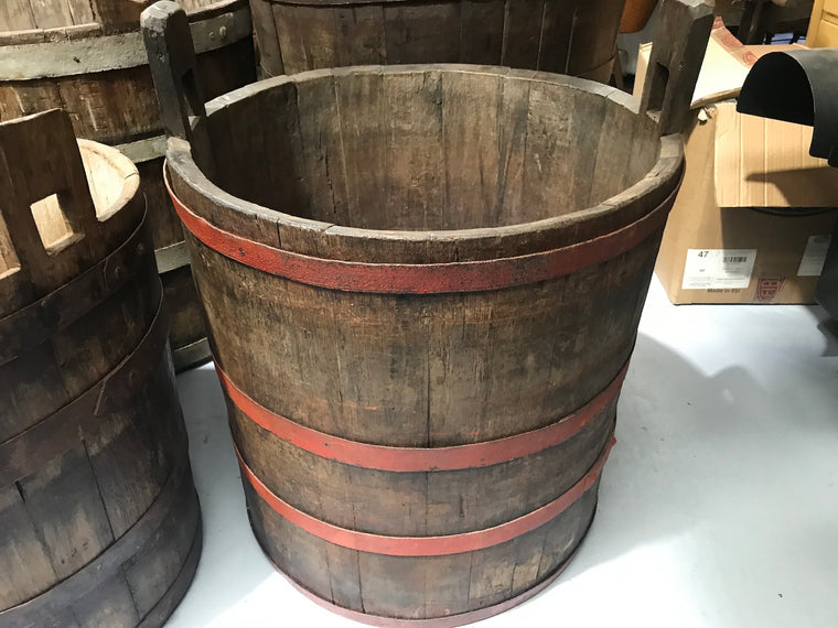 Vintage industrial French oak round wine barrel #1990/8
