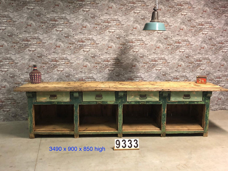 Vintage industrial European workbench table counter kitchen island 3.4 mt #2726 April container