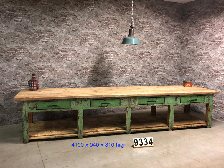 Vintage industrial European workbench table counter kitchen island 4.1 mt #2724 April container