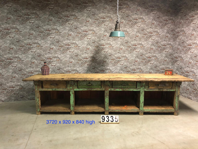 Vintage industrial European workbench table counter kitchen island 3.7 mt #2725