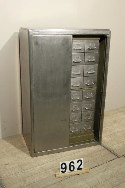 Vintage industrial Czech metal medical cabinet with fold out doors #953