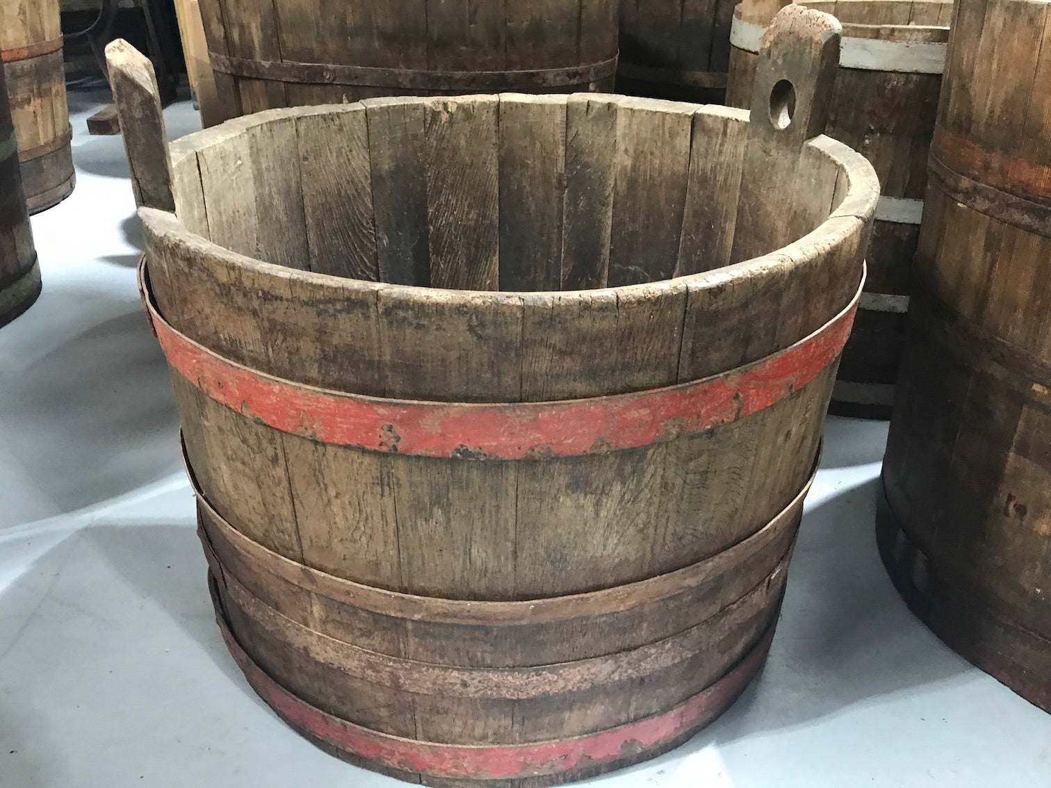 Vintage industrial French oak round wine barrel #1991/9
