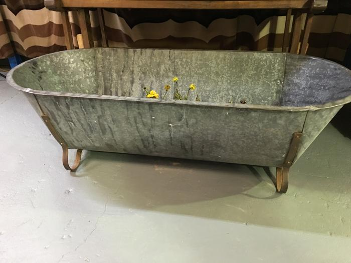 Vintage European farmhouse galvanised bath tubs #2843