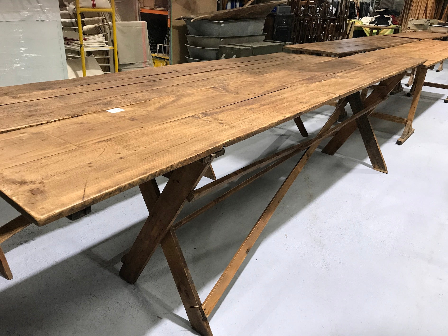 Vintage industrial European kitchen farmhouse dining table 3.5 long #1959 in Byron shop