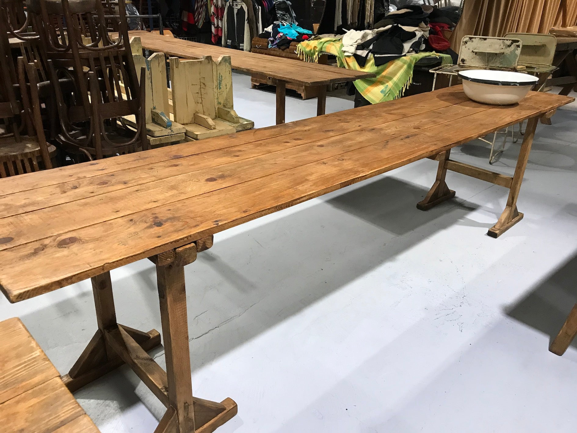 Vintage industrial European kitchen farmhouse dining table 3.1 long #1961