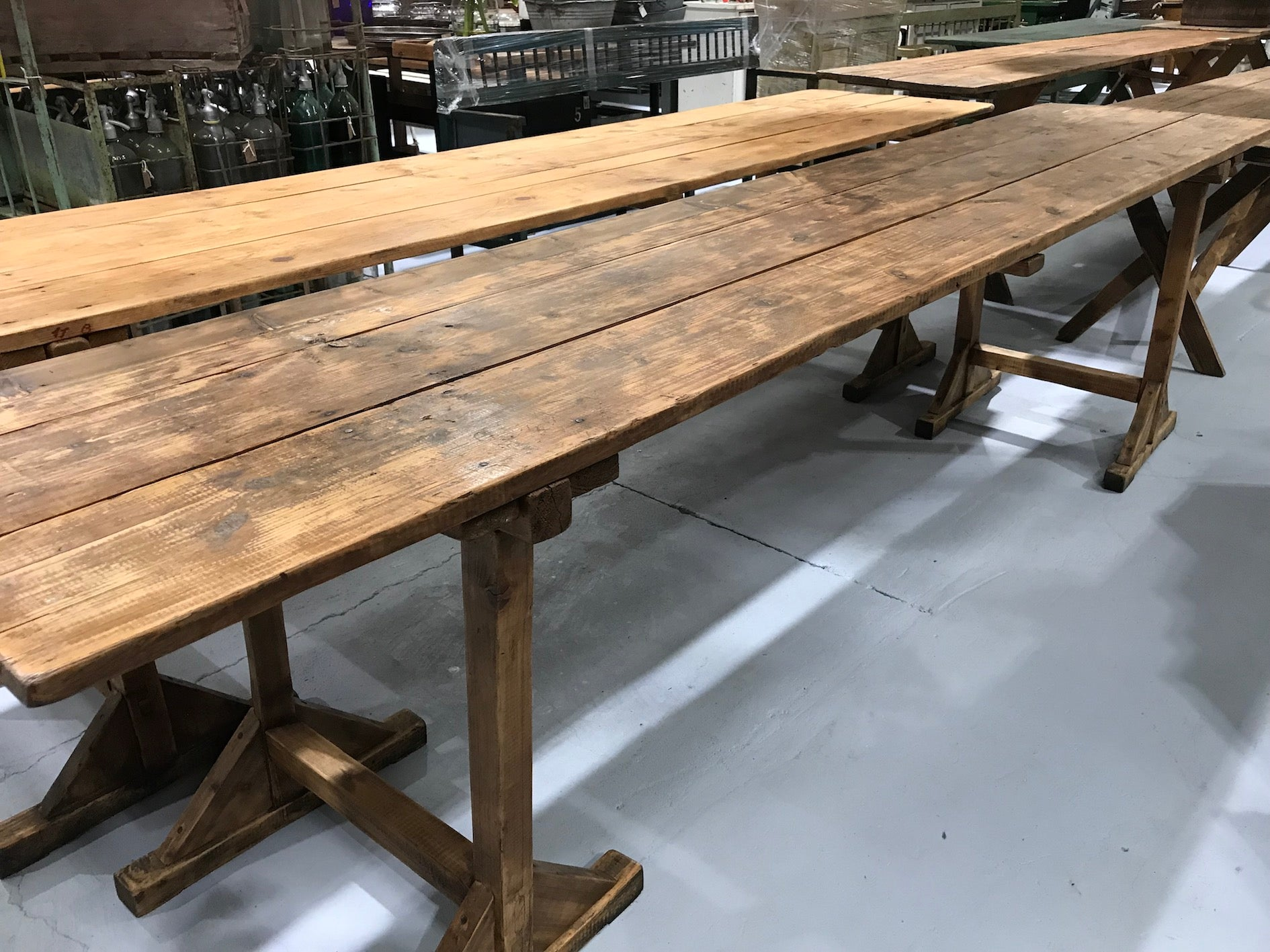 Vintage industrial European kitchen farmhouse dining table 3.0 long #1963 D6