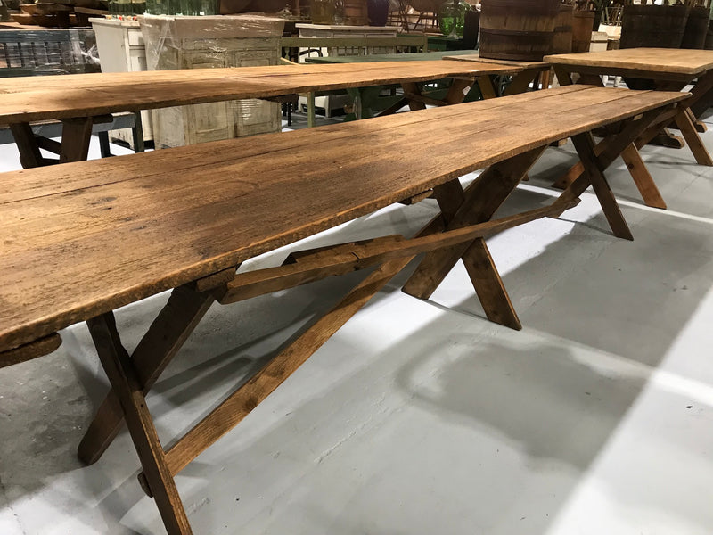 Vintage industrial European kitchen farmhouse dining table 3.5 long #1964 D7